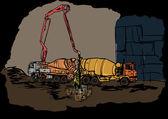 Работы по бетонированию — Cтоковый вектор