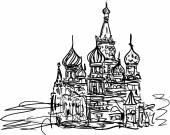 A St. Basil's Cathedral in the Moscow — Vector de stock