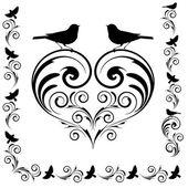 Decorative heart with birds — Stock Vector