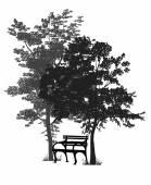 Bench under the trees — Vector de stock