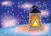 Flashlight and flying snowflakes — Vettoriale Stock
