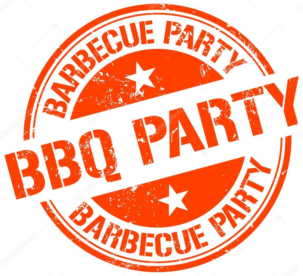 Stamp saying Barbeque party in orange letters.