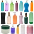 Colored plastic bottles with liquid soap and shower gel. — Stock Photo #60673763