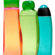 Colored plastic bottles with liquid soap and shower gel. — Stock Photo #63165981