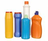 Cleaning equipment .colored plastic bottles with Detergent isolated on white background . — Stockfoto