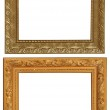 Set of 2 gold frames. Isolated on white background — Stock Photo #65321887