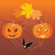 Halloween pumpkins, spiders and bat. Holiday composition — Stock Vector #53074897