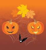 Halloween pumpkins, spiders and bat. Holiday composition — Stock Vector