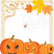 Halloween pumpkins and spiders in the ornamental frame — Stock Vector #56163501