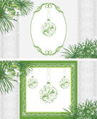 Ornamental frames with Christmas balls — Vector de stock