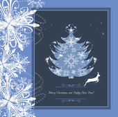 Stylized Christmas tree in the frame with tinsel and snowflakes — Vector de stock