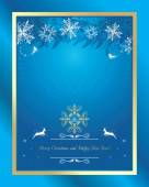 Shining blue Christmas background with tinsel and snowflakes — Stock Vector