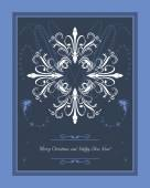 Abstract blue Christmas background with snowflakes. Greeting card — Stockvector