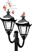 Bullfinch sitting on a street lantern — Stock Vector