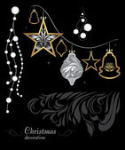 Golden and silver Christmas decoration on black background — Vector de stock