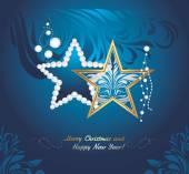 深蓝色背景中,照耀圣诞玩具。贺卡 — 图库矢量图片