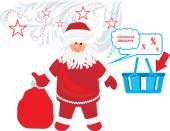 Santa Claus with gifts. Christmas discounts — Vettoriale Stock