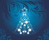 Shining Christmas tree on dark blue decorative background — ストックベクタ