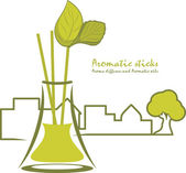 Aromatic sticks. Aroma diffusers and aromatic oils — Stock Vector