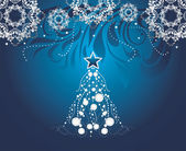 Shining Christmas tree on dark blue background with stylized snowflakes — Stock Vector