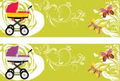 Pram. Decorative banners for design — Stock Vector