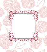 Ornamental frame on seamless background with stylized roses — Stockvektor
