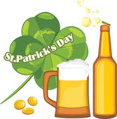 Beer mug and bottle, coins and clover leaf. Congratulation with St. Patrick's Day — Stockvektor