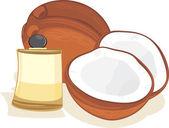 Ripe coconuts and coconut oil — Stock Vector
