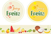 Juicy fruits. Labels and border for design — Stock Vector