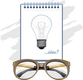 Glasses and paper sheet with light bulb. Concept — Stock Vector