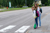 Street safety on the school way — Stock Photo