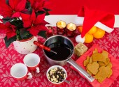 Xmas composition with glogg — Stock Photo