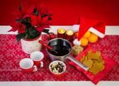 Christmas composition with glogg — Stock Photo