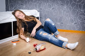 Unconscious depressed girl — Stock Photo