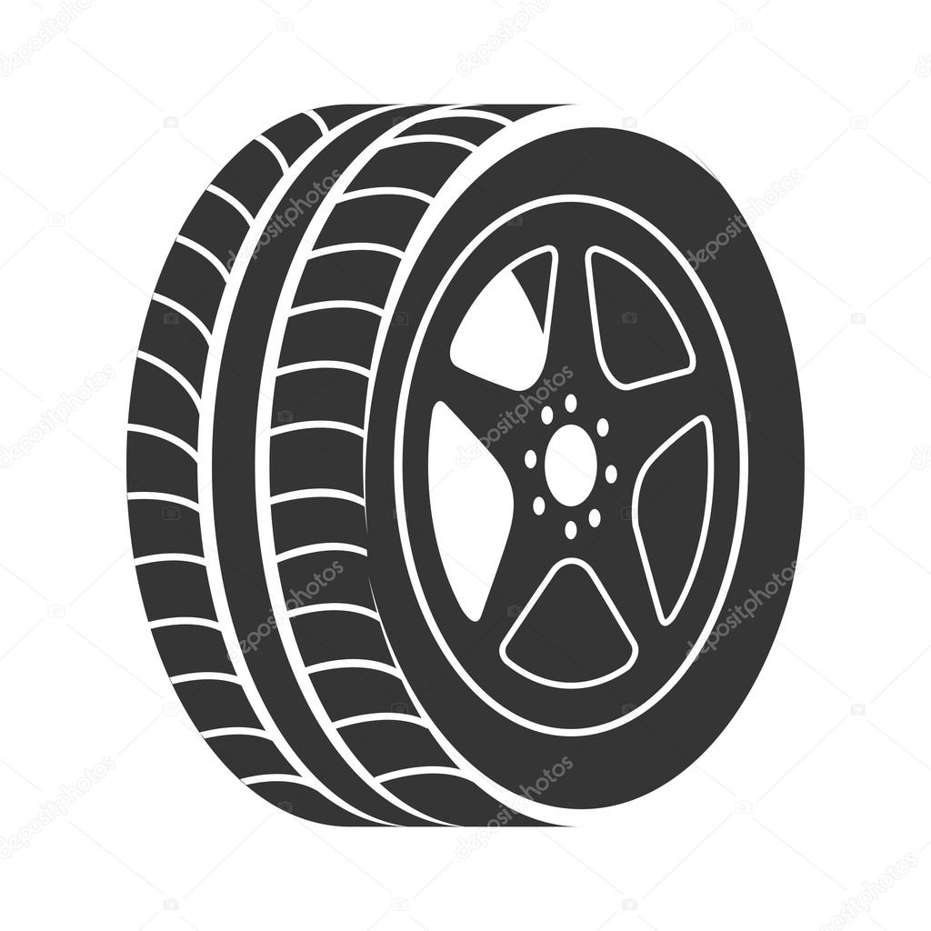 Tire Wheel Car Rim Vector Graphic Icon Stock Vector