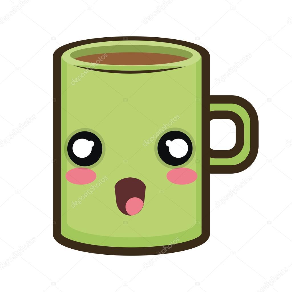Tasse de caf de dessin anim kawaii image vectorielle 122949078 - Tasse de cafe dessin ...