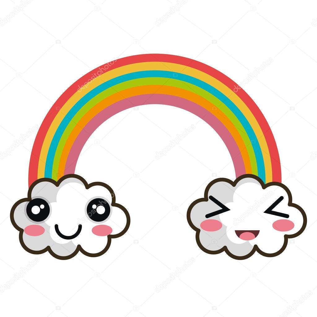 arco iris de dibujo animado de kawaii vector de stock