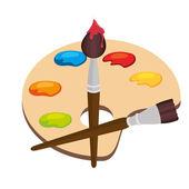 Pinsel und Palette Clip Art cartoon — Stockvektor ...