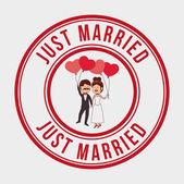 Wedding design over gray background vector illustration — Stock Vector
