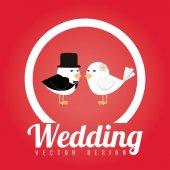 Wedding design over red background vector illustration — Stock Vector