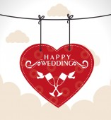 Wedding design over cloudscape background vector illustration — Vector de stock