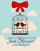 Wedding design over cloudscape background vector illustration — Stock Vector