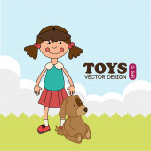 Toys design over landscape background vector illustration — Stock Vector