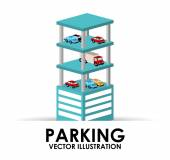 Parking building design — Vettoriale Stock