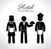 Hoteldesign über die weißen hintergrund-vektor-illustration — Stockvektor