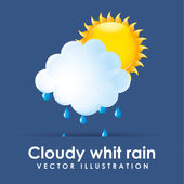Cloudy whit rain  — Stock Vector