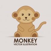 Monkey cute — Stock Vector