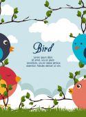 Desenho de pássaro, ilustração vetorial. — Vetor de Stock