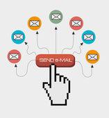 Email design, vector illustration. — Stock Vector