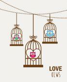 Liebe eulen — Stockvektor